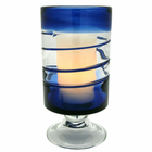 "Blue Venezia Footed Hurricane with 3.5 x 5"" Flameless Candle"