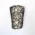 Battery Operated Wall Sconce (No Remote) - Fluted Design with Interlocking Twine