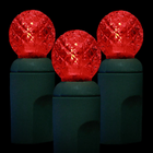 G12 LED String Light - 70 Red LEDs - 23.7 ft with Green Wire - Raspberry Design