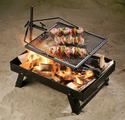 Adjust-A-Grill and Fire Pan Combo - Outdoor Campfire Grill Set