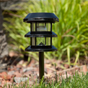 Three Tier Solar Garden Lantern - Gun Metal