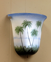 Battery Operated Wall Sconce - Bell Shaped Hand Painted Palm Trees