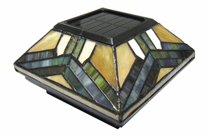 Solar Post Light - Tiffany Style Stained Glass