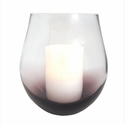 "Purple Bourdeaux Stemless Hurricane with with 4x6"" Ivory Wax Flameless Candle"