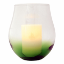 "Green Bourdeaux Stemless Hurricane with with 4x6"" Ivory Wax Flameless Candle"