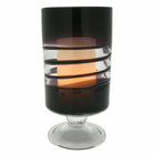 """Purple Venezia Footed Hurricane with 3.5 x 5"""" Flameless Candle"""