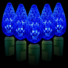 C6 LED String Light - 70 Blue LEDs - 23.7 ft with Green Wire - Strawberry Design