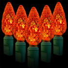 C6 LED String Light - 70 Orange LEDs - 23.7 ft with Green Wire - Strawberry Design