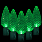 C9 LED String Light - 25 Green LEDs - 17.3 ft with Green Wire