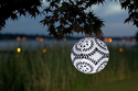 Soji LED Solar Lantern - Black and White Round Limited Edition