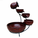 Solar Cascade 4 Tier Ceramic Fountain (Lava Red)
