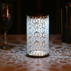 Frosted Fretwork Cylinder Solar Lantern for desk, tables and other surfaces