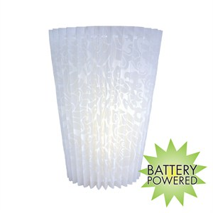 Battery Operated Wall Sconce (No Remote) - Faux Lace Fan Fold White Acrylic Shade