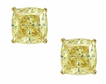 1.5 ct. each Cushion Cut Canary Studs in 14K Yellow Gold