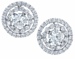 Circulo Round 1.25 Carat Each Cubic Zirconia Halo Stud Earrings