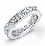 Channel Set Princess Cut Cubic Zirconia Eternity Band - LARGE