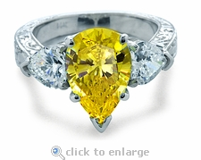 Sinatra 5 Carat Pear and Heart Cubic Zirconia Three Stone Engraved Antique Estate Style Ring