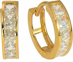 Wagner Channel Set Princess Cut CZ Huggie Hoop Earrings