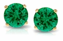 1 ct. each Round Emerald Look Stud Earrings