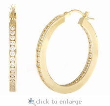 Duo Channel Cubic Zirconia Hoop Earrings