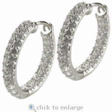 Devan Double Row Pave CZ Hoop Earrings