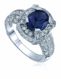 Logan Oval Cubic Zirconia Pave Solitaire Engagement Ring