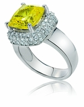Eleni Cushion Cut Cubic Zirconia Pave  Solitaire Ring