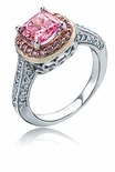 Rozay Cushion Cut Cubic Zirconia Halo Solitaire Ring