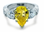 Sinatra Pear and Heart Cubic Zirconia Engraved Ring
