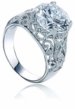 Bristol Round Antique Estate Style Cubic Zirconia Solitaire Ring