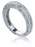 Eliza Pave Round Cubic Zirconia Engraved Wedding Band