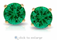 1 Carat Each Round Lab Created Man Made Emerald Look Stud Earrings
