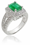 Highland Emerald Cut Estate Halo Ring