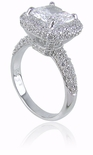 Aberdeen 2.5 Carat Cushion Cut Cubic Zirconia Micro Pave Halo Engagement Ring