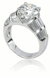 Rosella 2 Carat Round Cubic Zirconia Channel Set Baguette Solitaire Engagement Ring