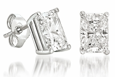 Emerald Radiant Cut Stud Earrings Featuring Ziamond Cubic Zirconia