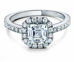 Arden Asscher Cut Cubic Zirconia Halo Solitaire Engagement Ring