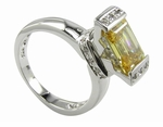 Antonini Emerald Cut Cubic Zirconia Solitaire Engagement Ring