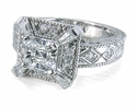 Celeste Asscher Cut Cubic Zirconia Estate Style Solitaire Engagement Ring