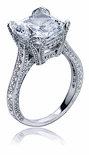 Genevia Cushion Cut Cathedral Cubic Zirconia Pave Engagement Ring