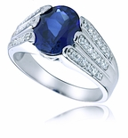 Parkdale Sapphire Oval Cubic Zirconia Three Row Pave Ring