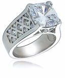 Lovell Cushion Cut Cathedral Cubic Zirconia Crisscross Ring