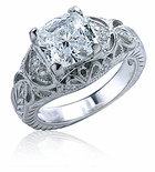 Galena Antique Engraved Cushion Cut Cubic Zirconia Pave Ring