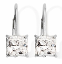 1.50 Carat Each 18K White Gold Princess Cut Lever Back Euro Wire Drop Earrings