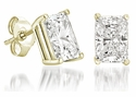 2.50 Carat Each Radiant Emerald Cut Cubic Zirconia Stud Earrings