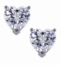 1 Carat Each Heart Shaped Cubic Zirconia Simulated Diamond Stud Earrings