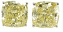 8.5 Carat Cushion Cut Cubic Zirconia Canary Simulated Diamond Stud Earrings