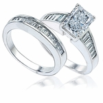 Emerald Cut Channel Baguette Bridal Set