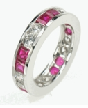 Ruby Princess Cut Alternating Diamond Look Round Cubic Zirconia Eternity Band