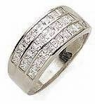 Saturnia Three Row Channel Set Princess Cut Cubic Zirconia Anniversary Band